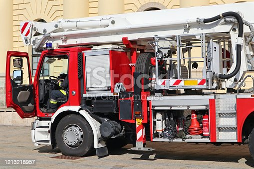 Fire truck on the street of the city