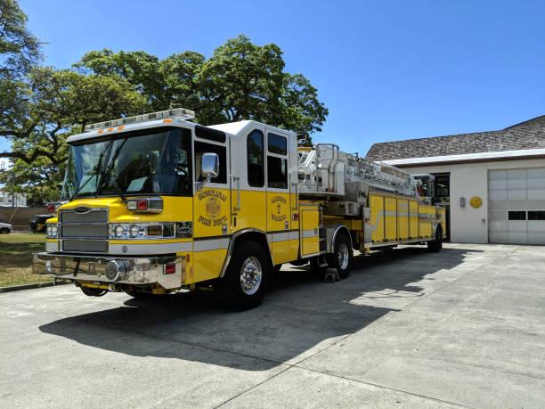 Fire Truck parked at Fire Station 07 Waikīkī stock photo
