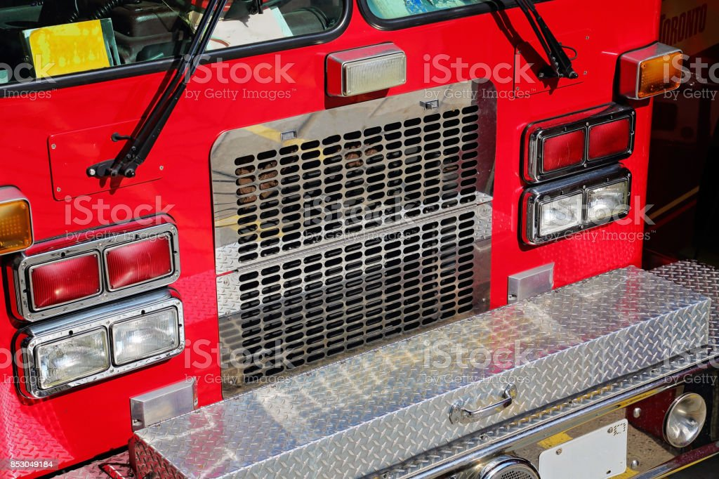 Fire truck ready to respond to emergency stock photo