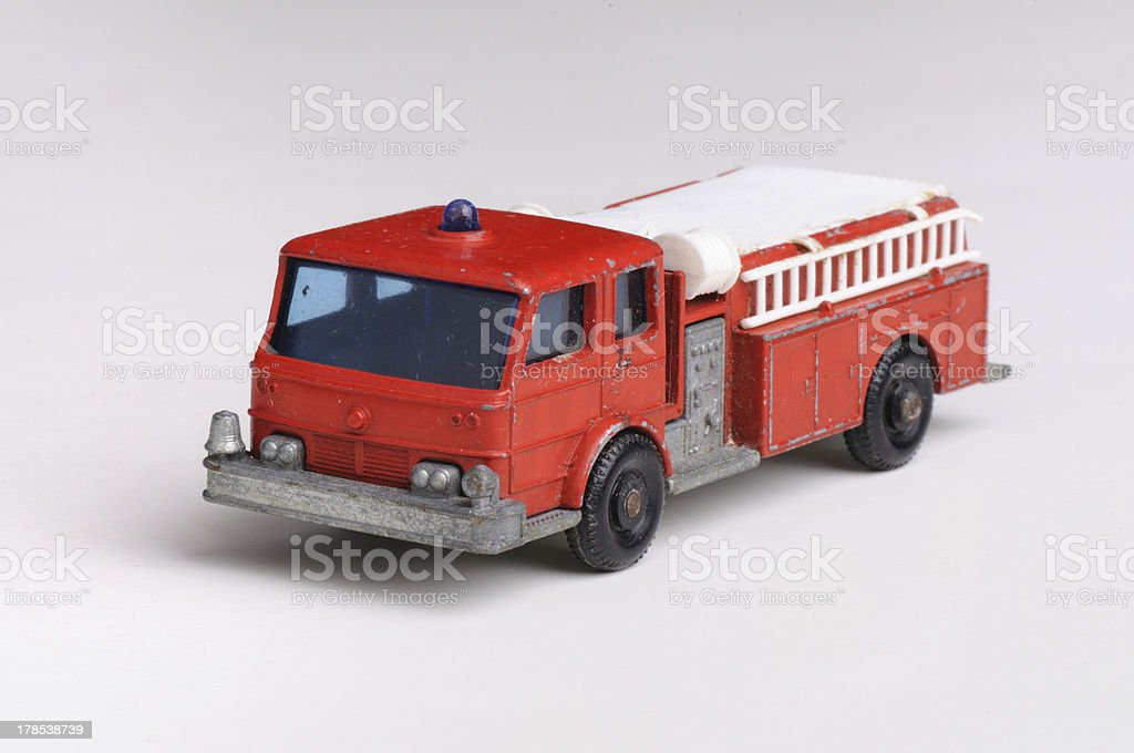 Fire truck toy metal 1960 antique vintage royalty-free stock photo