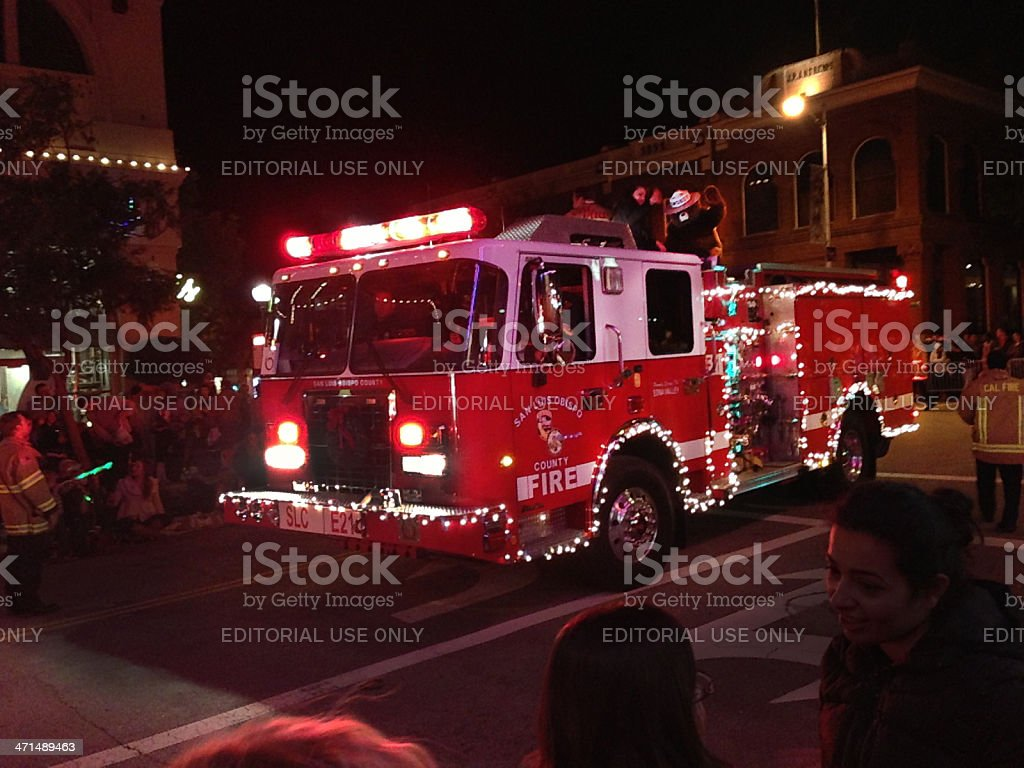 Fire Truck With Christmas Lights, San Luis Obispo, California Royalty Free  Stock Photo