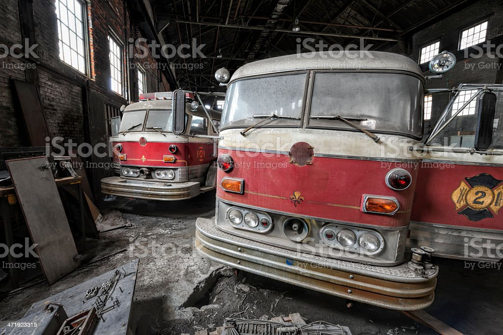 Fire Trucks Abandoned and Dirty stock photo