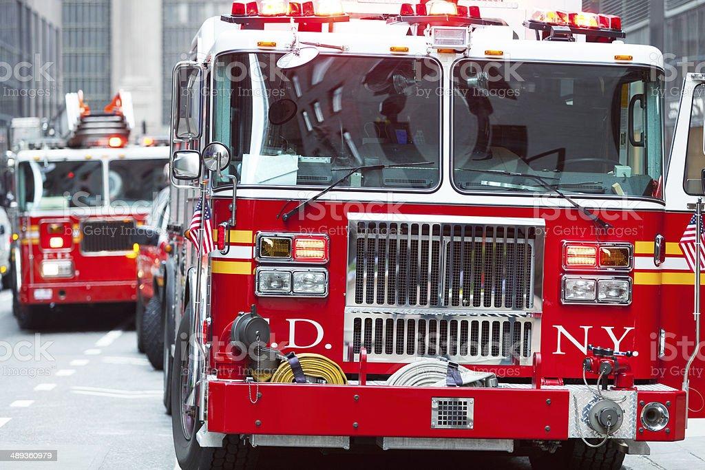 Fire Trucks in New York stock photo