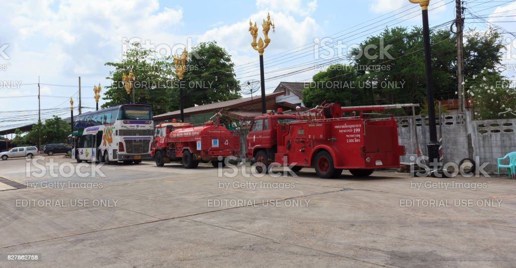 Fire trucks parked in a storage stock photo