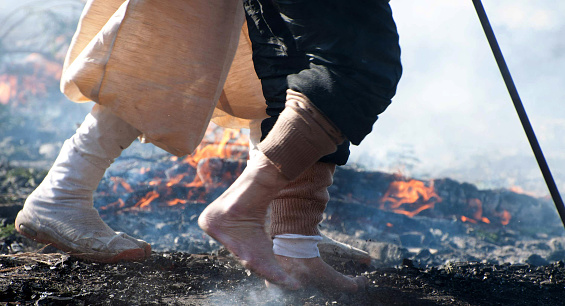 Fire Walking On Hot Coals Stock Photo - Download Image Now