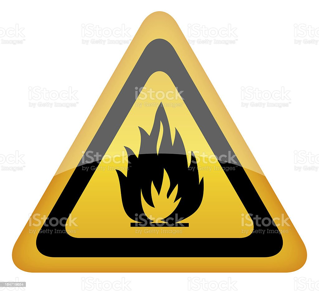 Fire warning sign stock photo
