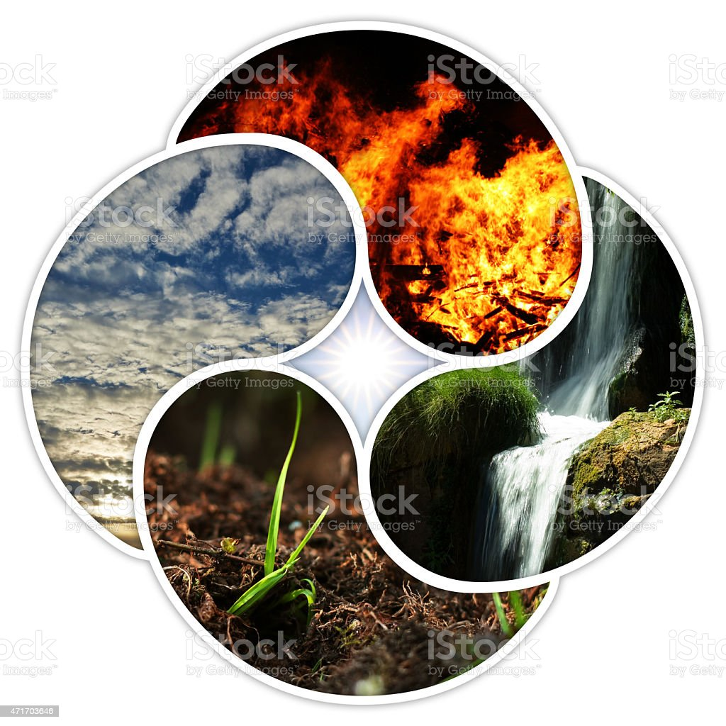 fire, water, earth, air stock photo