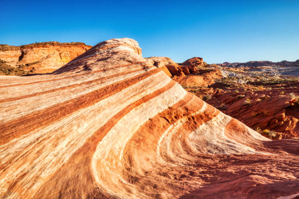 Fire Wave in Valley of Fire State Park at Sunset near Las Vegas, Nevada, USA stock photo