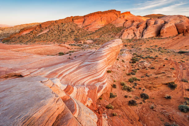 Fire Wave in Valley of Fire State Park Nevada Stock photograph of the scenic Fire Wave in the Valley of Fire State Park Nevada USA nevada stock pictures, royalty-free photos & images