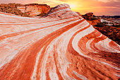 Amazing colors and shape of the Fire Wave rock in Valley of Fire State Park, Nevada, USA