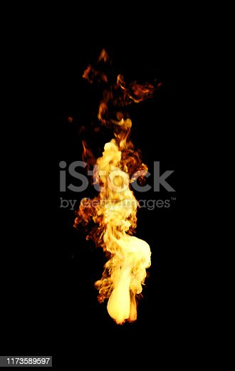 istock Fire With Long Flames Isolated On Black Background 1173589597