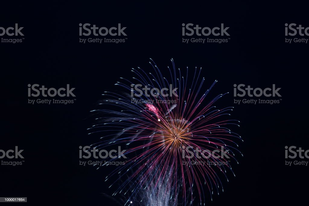 Fire works in Japan stock photo