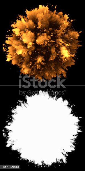 istock Fireball and its outline bursting on a black background 157165330