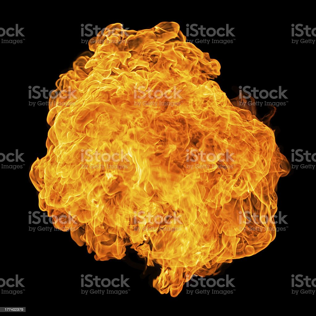 Fireball isolated on black background stock photo
