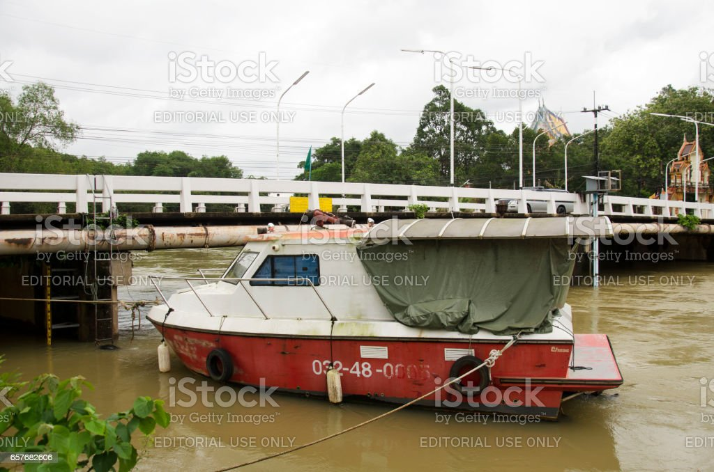 Fireboat floating chanthaburi river while water fast stock photo
