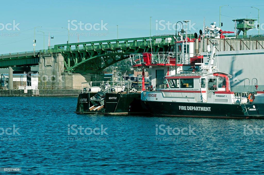 Fireboats on Salmon Bay near Ballard Bridge in Seattle WA stock photo