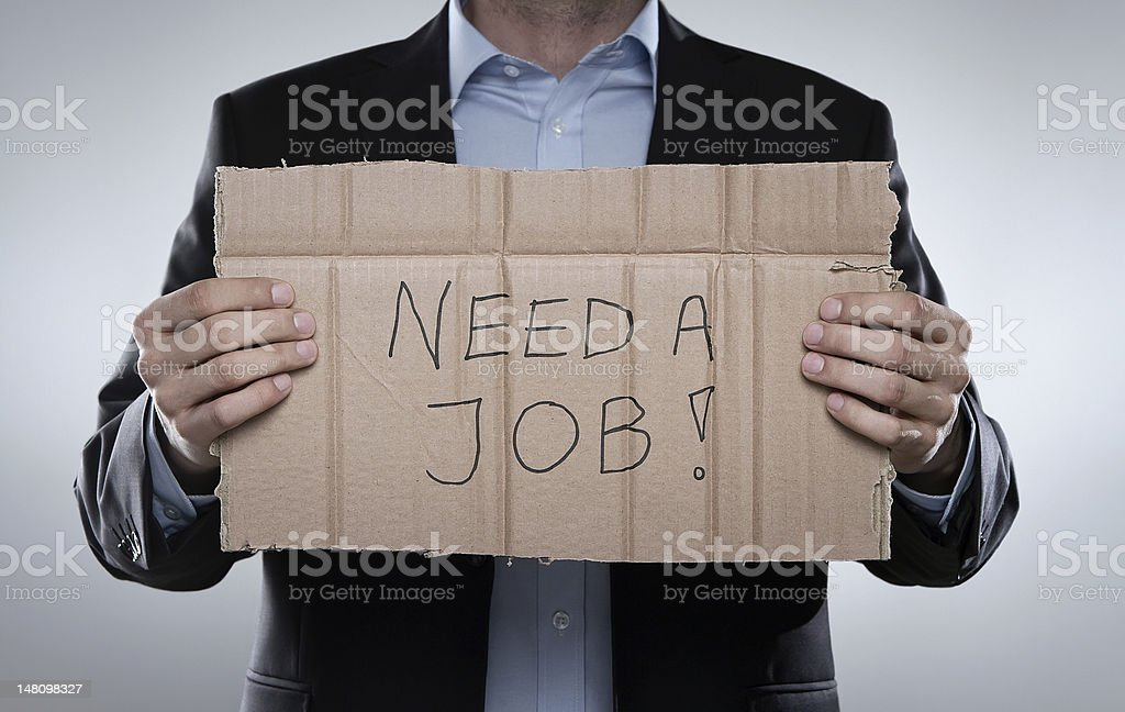 Fired businessman looking for a job stock photo