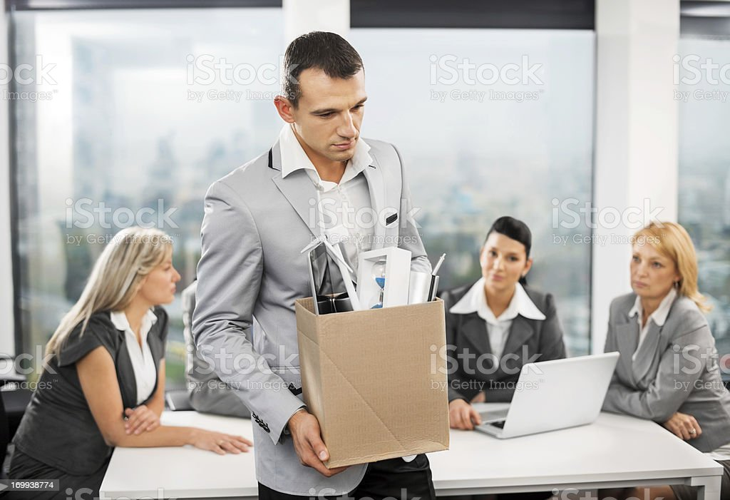 Fired businessman stock photo