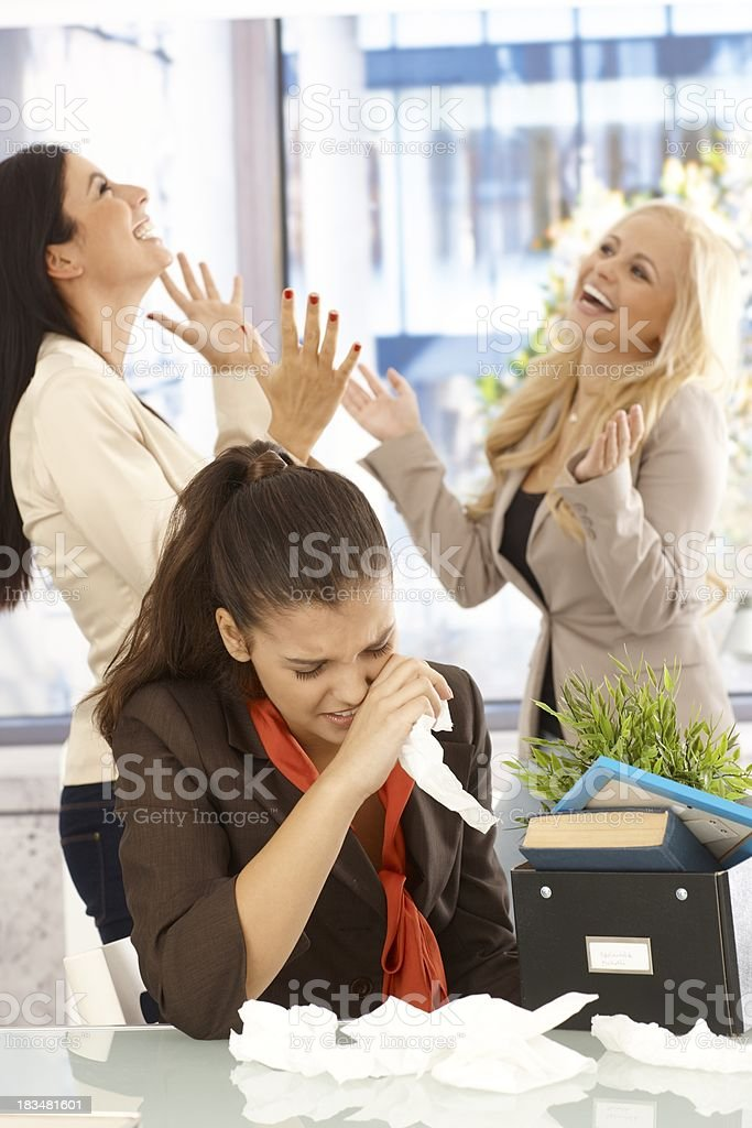 Fired employee crying at desk royalty-free stock photo