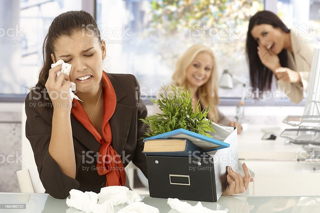 Fired office worker crying royalty-free stock photo