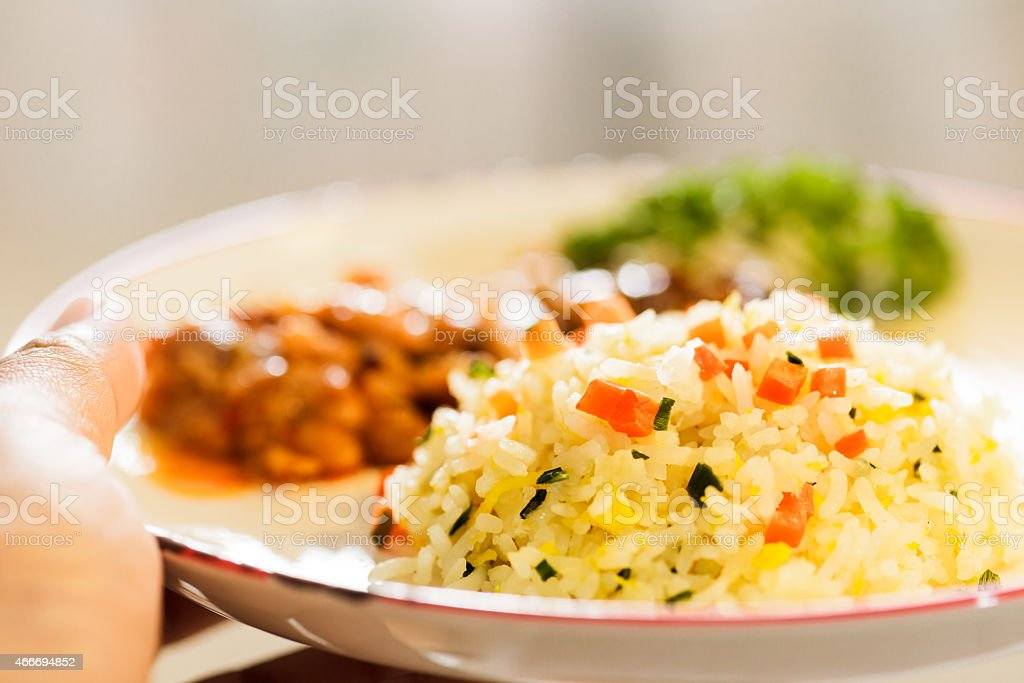 Fired rice on plate stock photo