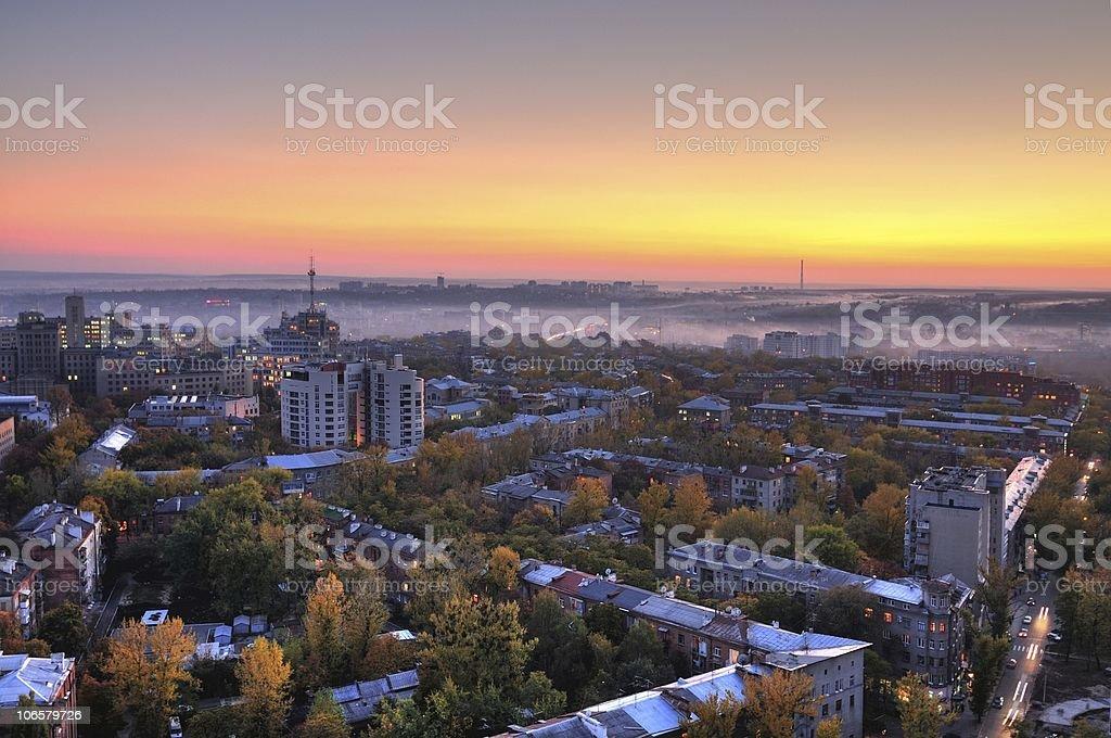Fired sunset stock photo