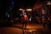 A Fire-Eater performing at the beach of Koh Lipe.