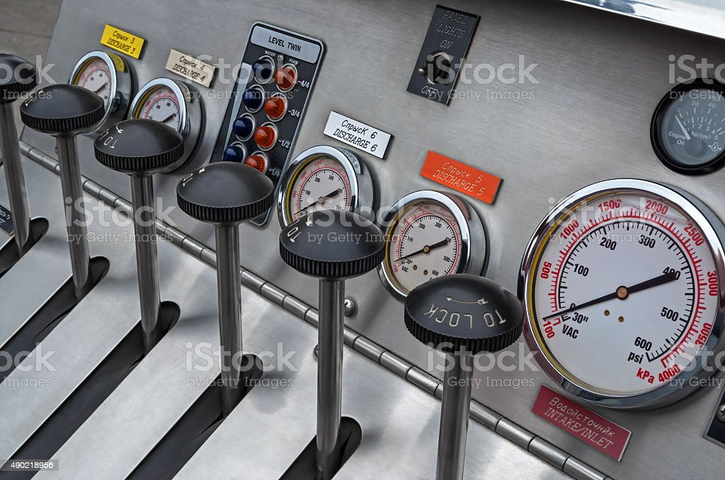 Fire-extinguishing system control panel stock photo