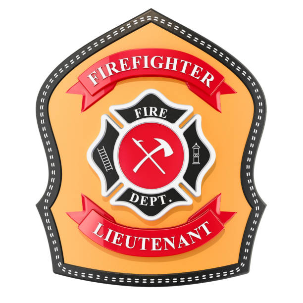 firefighter badge, emblem. 3d rendering isolated on white background - badge logo stock photos and pictures