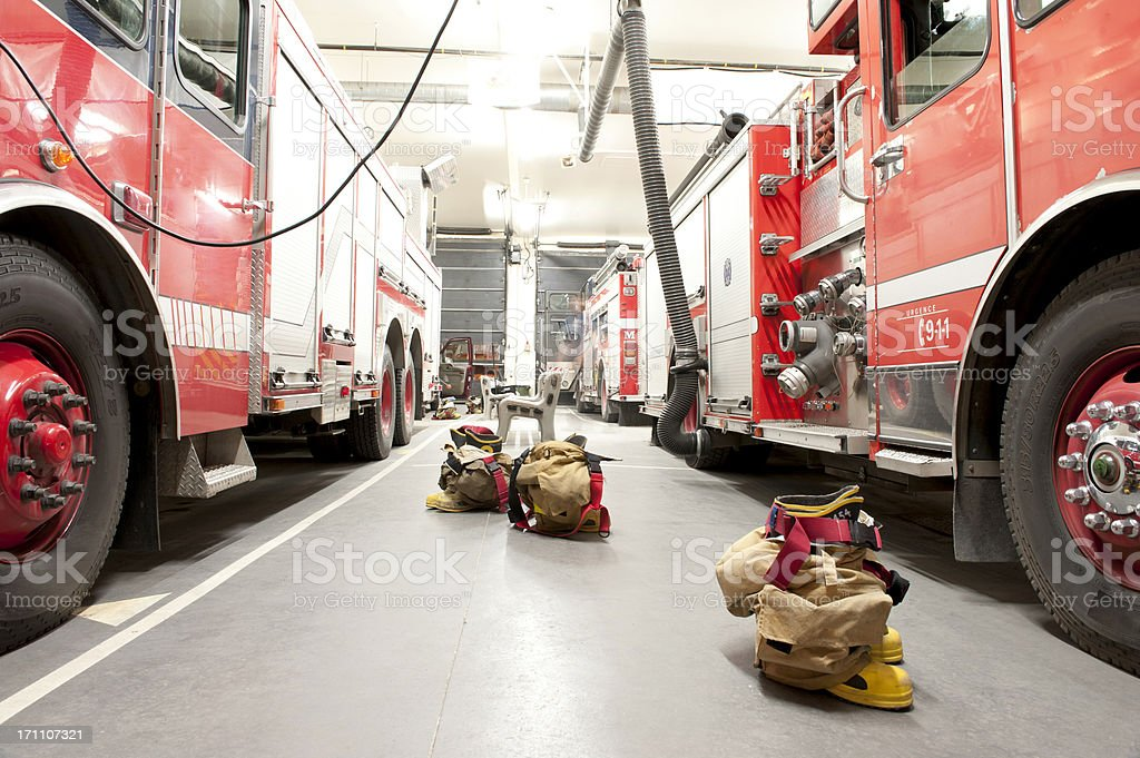firefighter bunker suit ready for action stock photo