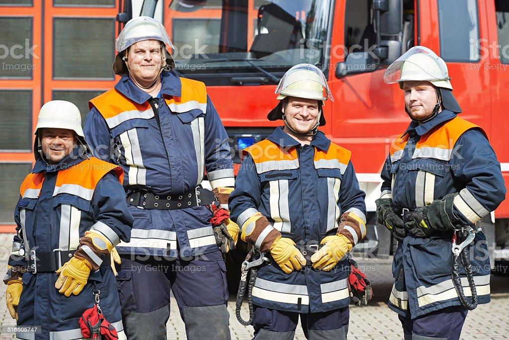 firefighter crew stock photo