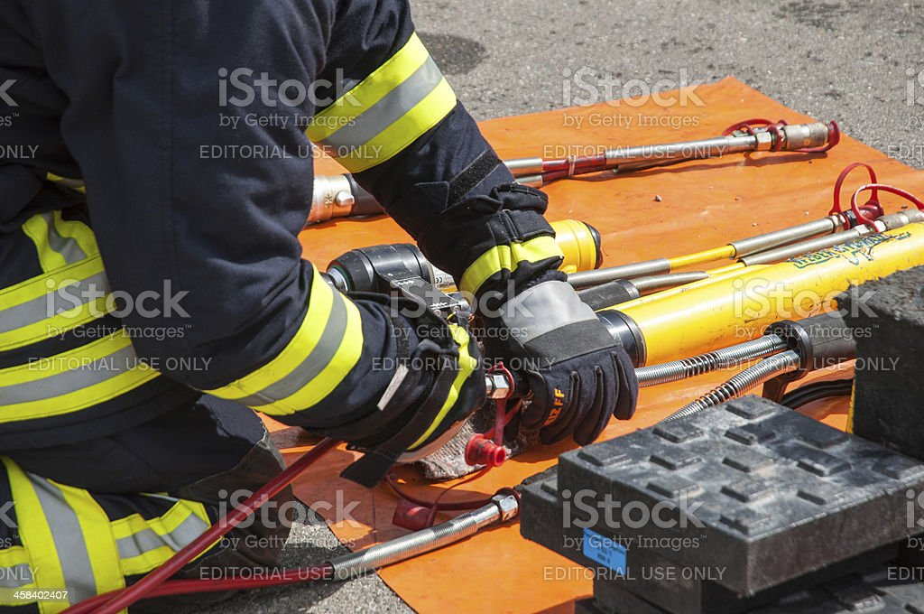 Firefighter from the fire department Langenau in action stock photo
