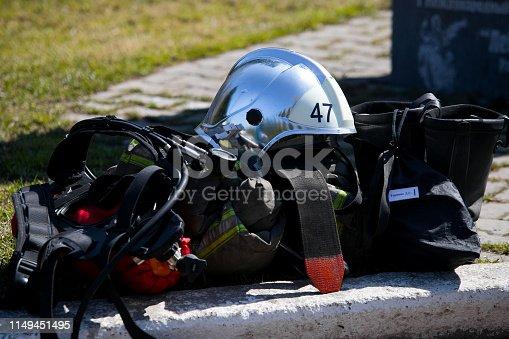 istock Firefighter gear and helmet 1149451495