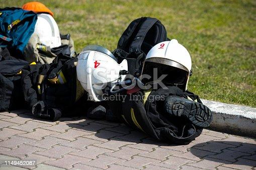 istock Firefighter gear and helmet 1149452087