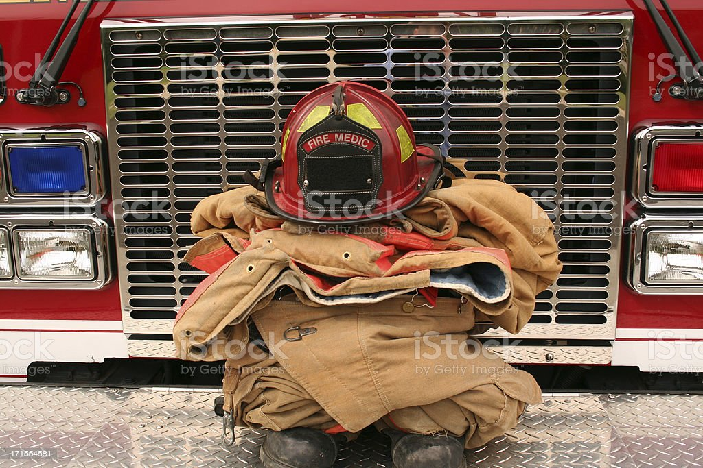 Firefighter Gear on a Fire Truck royalty-free stock photo