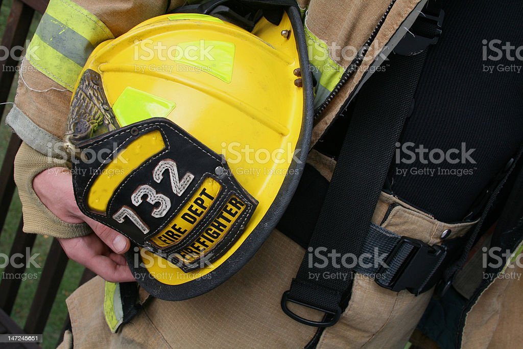 Firefighter helment stock photo