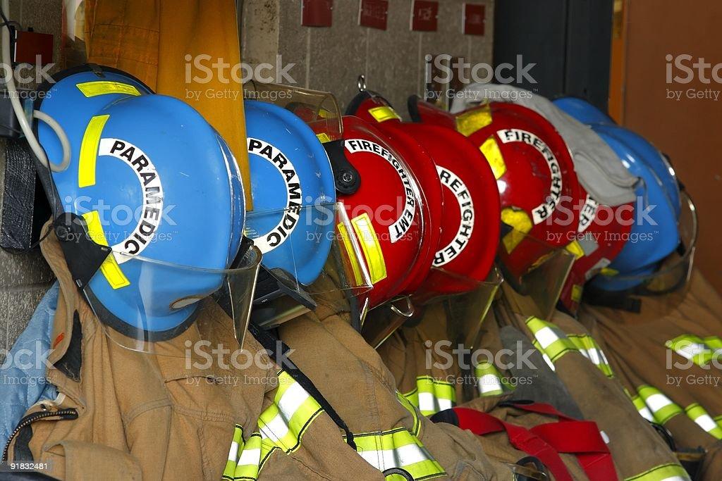 Firefighter helmets royalty-free stock photo
