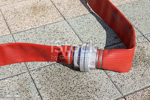 Firefighter hose on the street