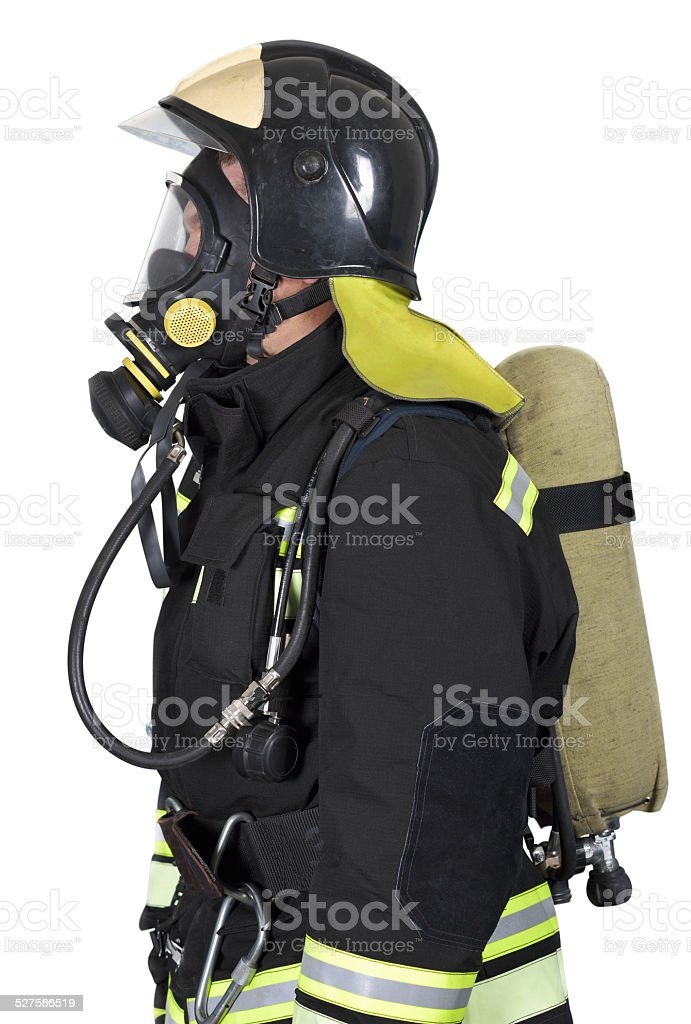Firefighter in breathing apparatus stock photo