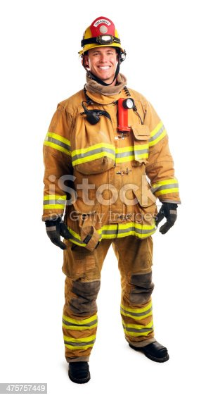 This is a full length photograph of a male firefighter in his late 30s. The background is a pure white.