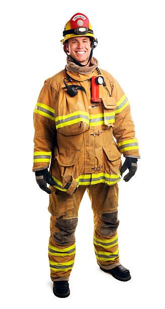 bombero aislado en blanco - bombero fotografías e imágenes de stock