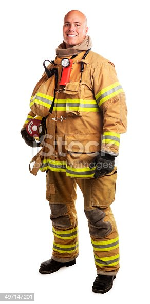 This is a photograph of a male firefighter in his late 30s holding a helmet. The background is a pure white.