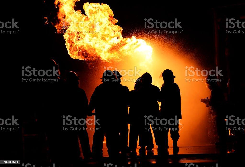 Bombeiro noite setor. - foto de acervo