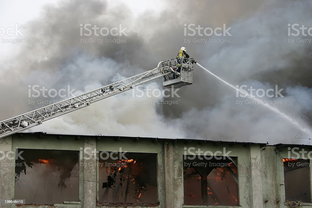 firefighter on duty #3 royalty-free stock photo