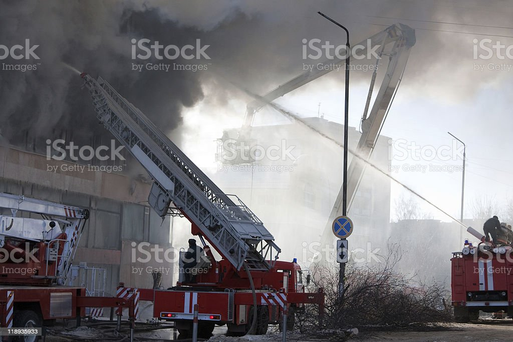 Firefighter on fire royalty-free stock photo