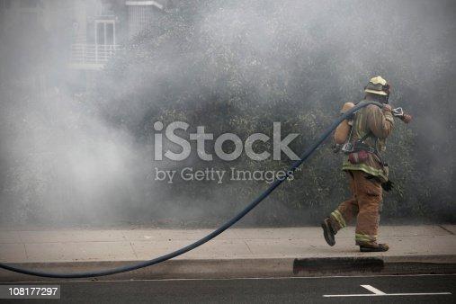 Firefighter Battling a Wildfire.