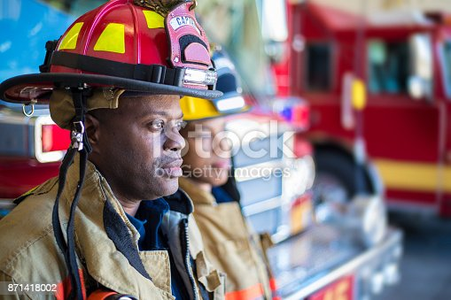 A stock photo of a female firefighter during her work day.
