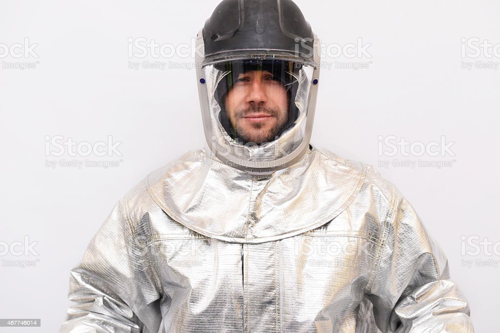 Firefighter protective suit stock photo
