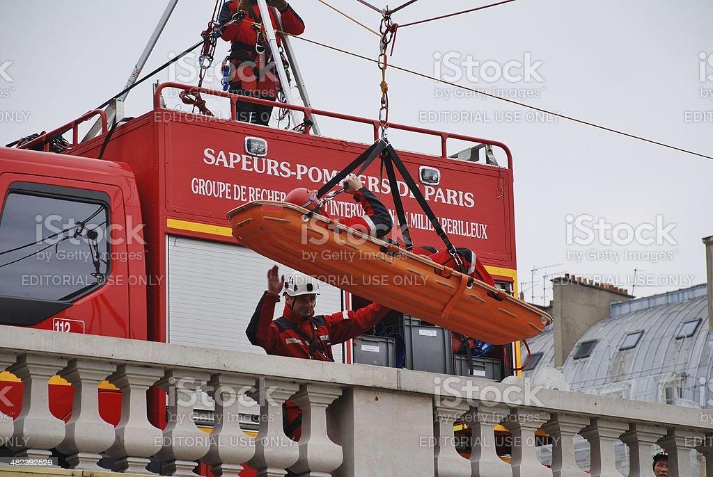 Firefighter rescue training, Paris stock photo