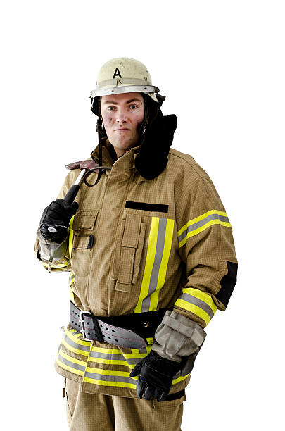 Firefighter shouldering his axe Firefighter shouldering his axe and looking into camera. smoke jumper stock pictures, royalty-free photos & images